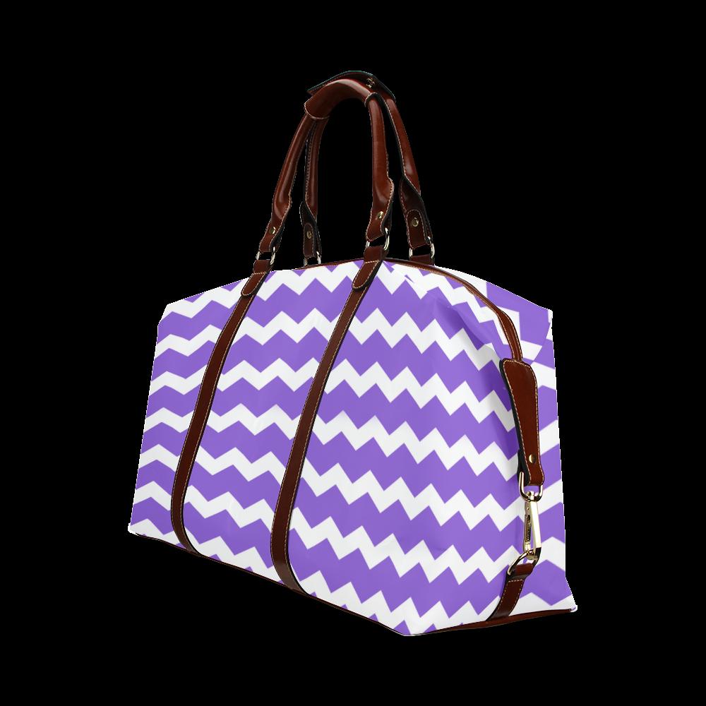 Modern Trendy Pastell Grey Lilac Zig Zag Pattern Chevron Classic Travel Bag (Model 1643)
