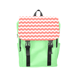 Modern Trendy Pastell Grey Red Green Zig Zag Pattern Chevron Casual Shoulders Backpack (Model 1623)