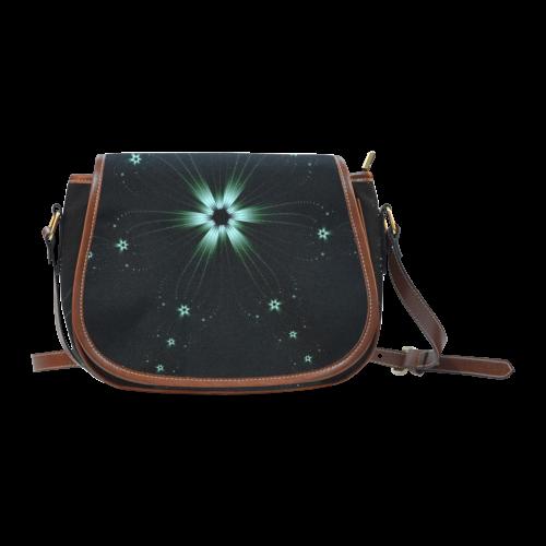 Teal Flower Burst Saddle Bag/Large (Model 1649)