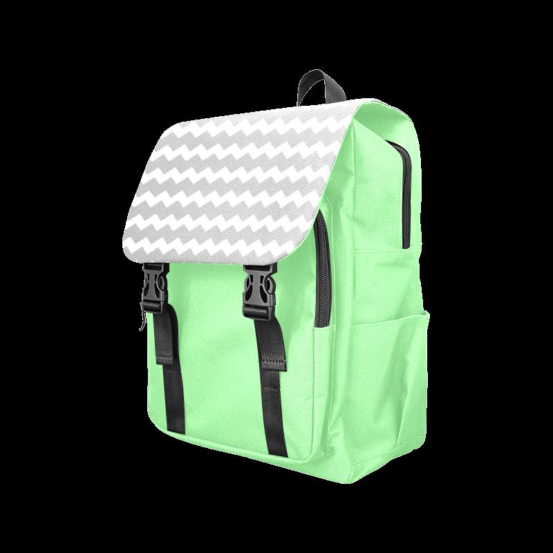 Modern Trendy Pastell Grey Green Zig Zag Pattern Chevron Casual Shoulders Backpack (Model 1623)