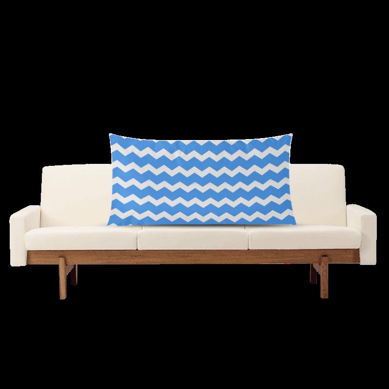 "Modern Trendy Pastell Grey Blue Zig Zag Pattern Chevron Rectangle Pillow Case 20""x36""(Twin Sides)"