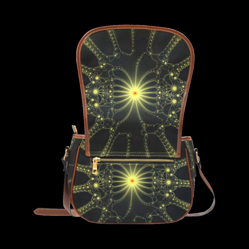 Yellow Flower Explosion Saddle Bag/Large (Model 1649)