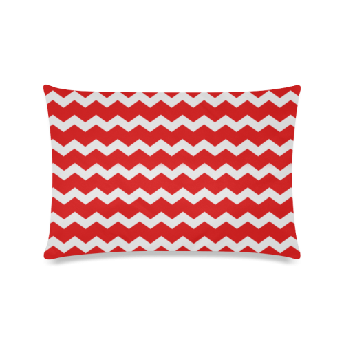 """Modern Trendy Pastell Grey Love Color Red Zig Zag Pattern Chevron Custom Zippered Pillow Case 16""""x24""""(Twin Sides)"""