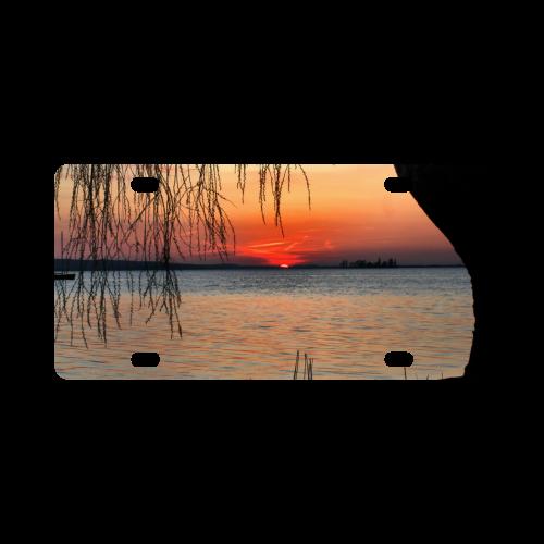 Sunrise Tree Romantic Spring  Water Sea Classic License Plate