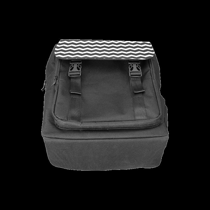 Chic Modern Trendy Pastell Grey Black Zig Zag Pattern Chevron Casual Shoulders Backpack (Model 1623)