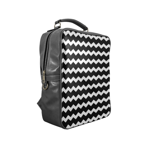 Modern Trendy Pastell Grey Black Zig Zag Pattern Chevron Square Backpack (Model 1618)