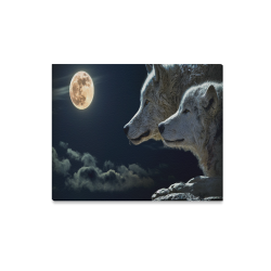 "Wolven Love By The Light Of The Moon Canvas Print 20""x16"""