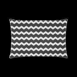 "Elegant Modern Trendy Pastell Grey Black Zig Zag Pattern Chevron Custom Zippered Pillow Case 16""x24""(Twin Sides)"