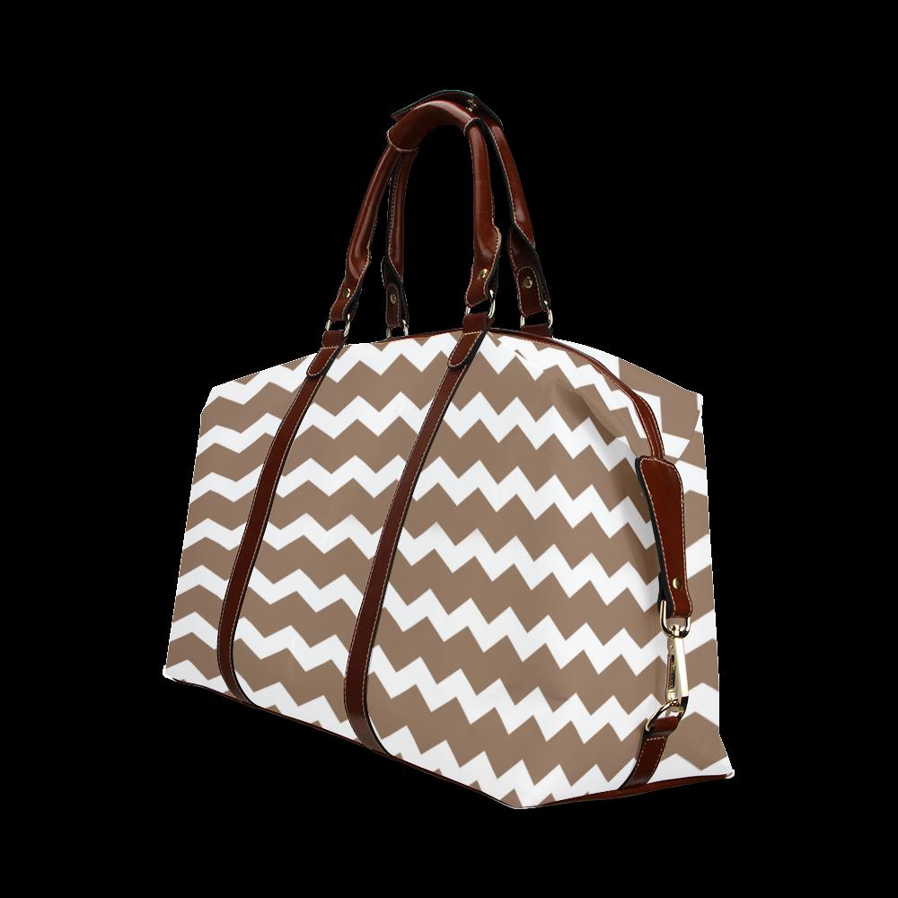 Modern Trendy Pastel Grey Brown Zig Zag Pattern Chevron Classic Travel Bag (Model 1643)