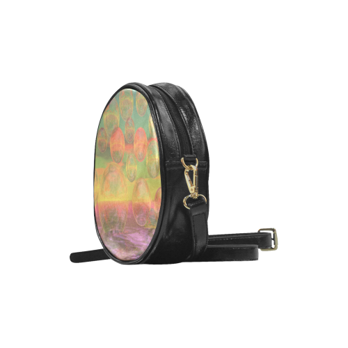 Autumn Ruminations, Abstract Gold Rose Glory Round Sling Bag (Model 1647)