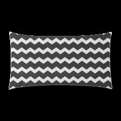 "Elegant Modern Trendy Pastell Grey Black Zig Zag Pattern Chevron Rectangle Pillow Case 20""x36""(Twin Sides)"