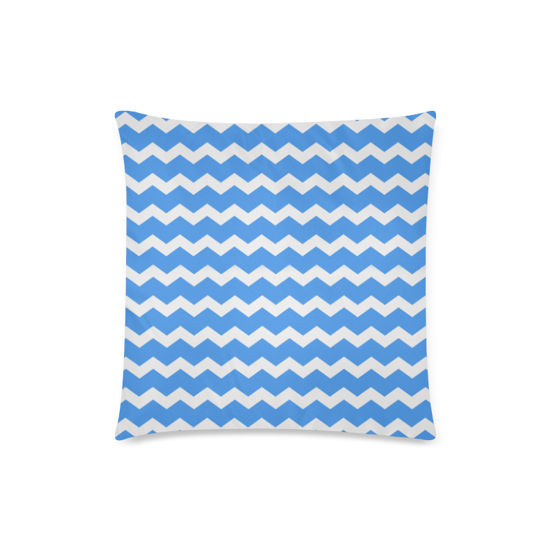 "Modern Trendy Pastell Grey Blue Zig Zag Pattern Chevron Custom Zippered Pillow Case 18""x18""(Twin Sides)"