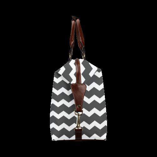 Modern Trendy Pastel Grey Black Zig Zag Pattern Chevron Classic Travel Bag (Model 1643)
