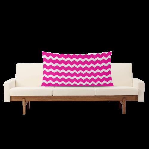 "Modern Trendy Pastell Grey Pink Zig Zag Pattern Chevron Rectangle Pillow Case 20""x36""(Twin Sides)"