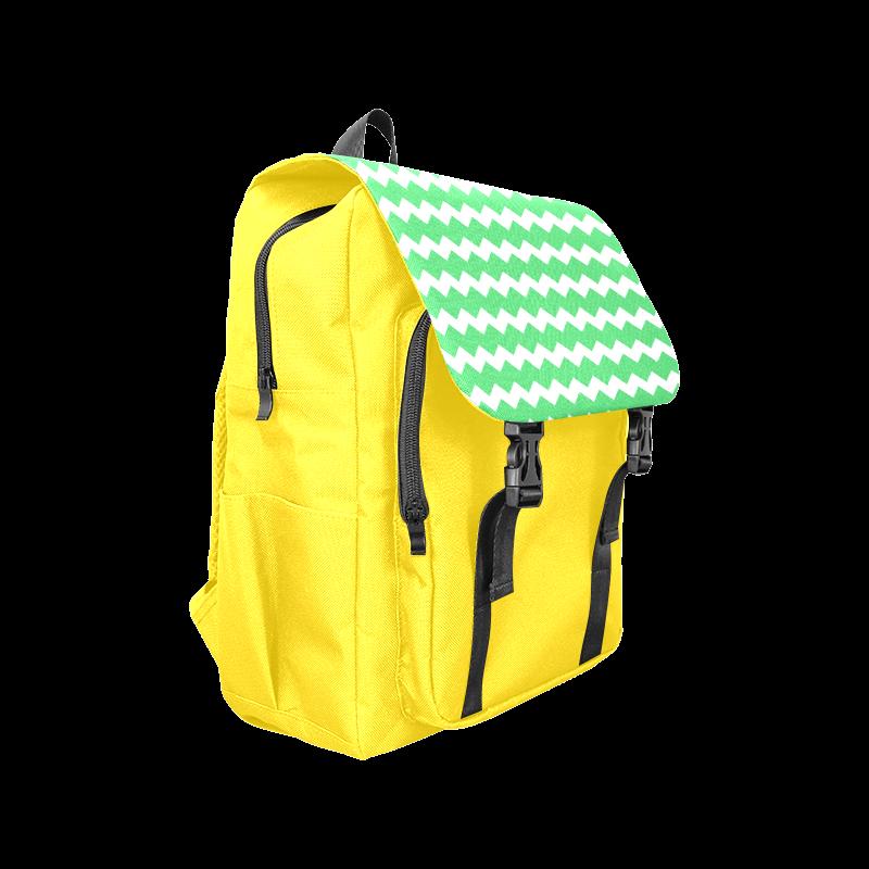 Modern Trendy Pastell Grey Green Yellow Zig Zag Pattern Chevron Casual Shoulders Backpack (Model 1623)
