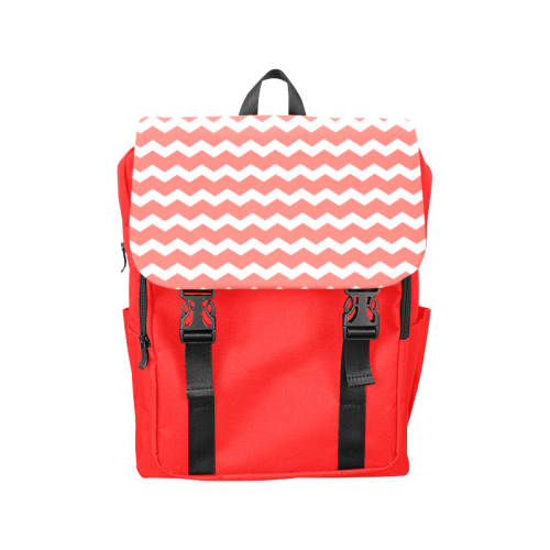 Modern Trendy Pastel Grey Red Zig Zag Pattern Chevron Casual Shoulders Backpack (Model 1623)