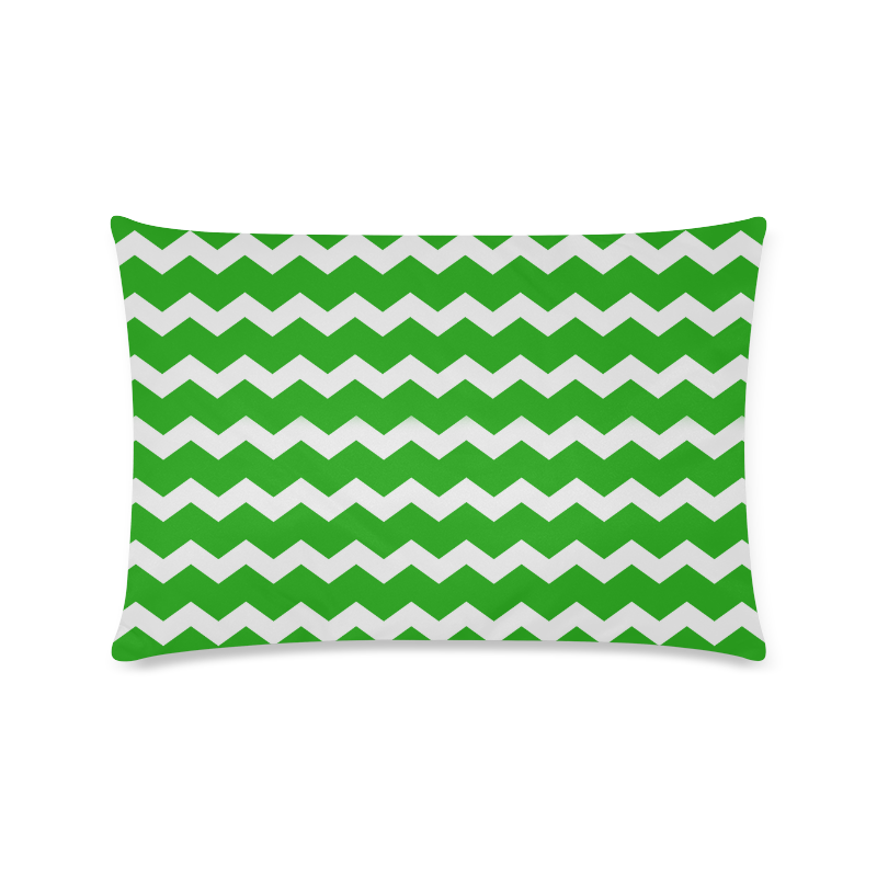"Modern Trendy Pastell Grey Green Zig Zag Pattern Chevron Custom Zippered Pillow Case 16""x24""(Twin Sides)"