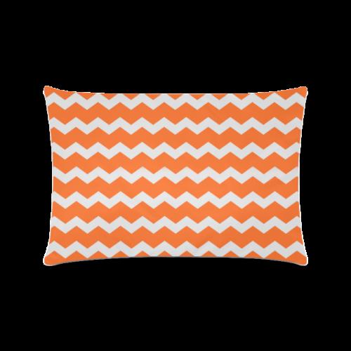"Modern Trendy Pastell Grey Orange Zig Zag Pattern Chevron Custom Zippered Pillow Case 16""x24""(Twin Sides)"