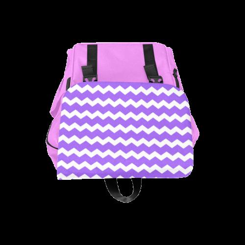 Modern Trendy Pastel Grey Pink Zig Zag Pattern Chevron Casual Shoulders Backpack (Model 1623)