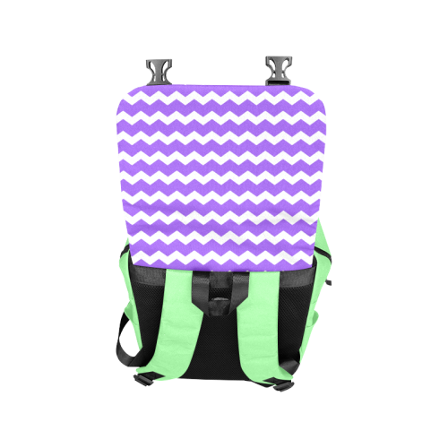 Modern Trendy Pastell Grey Green Lilac Zig Zag Pattern Chevron Casual Shoulders Backpack (Model 1623)