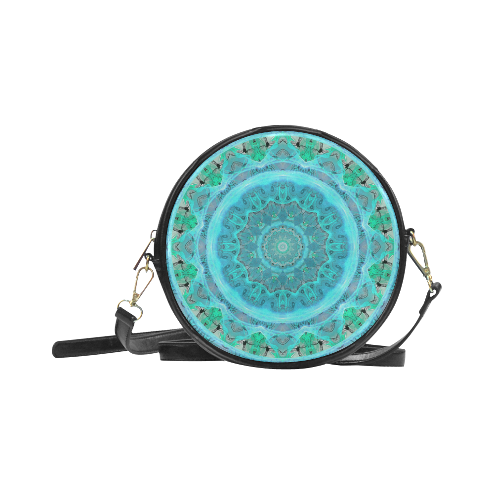 Teal Cyan Ocean Abstract Modern Lace Lattice Round Sling Bag (Model 1647)