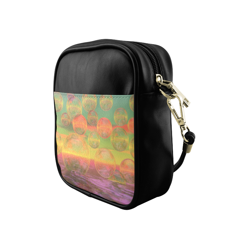Autumn Ruminations, Abstract Gold Rose Glory Sling Bag (Model 1627)