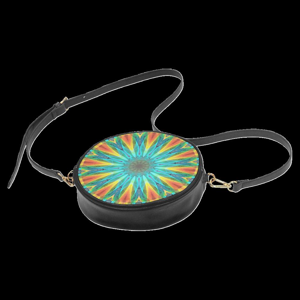 Aqua Gold Joy to the World Flowers, Zen Rainbow Round Sling Bag (Model 1647)