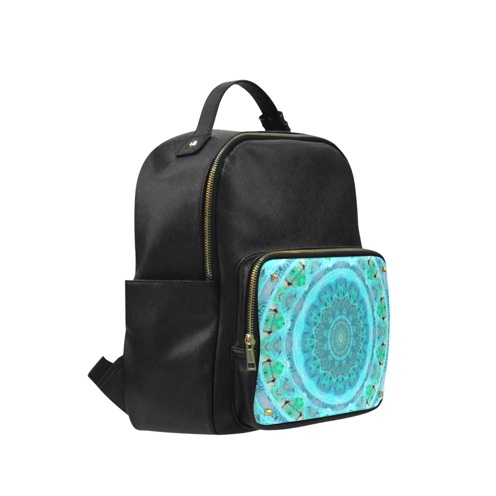 Teal Cyan Ocean Abstract Modern Lace Lattice Campus backpack/Large (Model 1650)