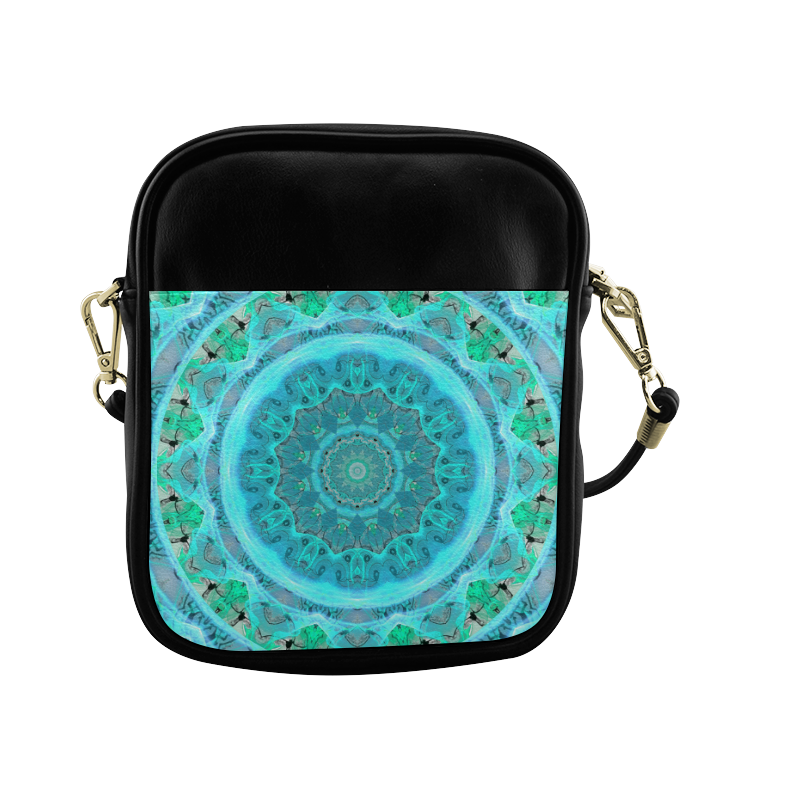 Teal Cyan Ocean Abstract Modern Lace Lattice Sling Bag (Model 1627)