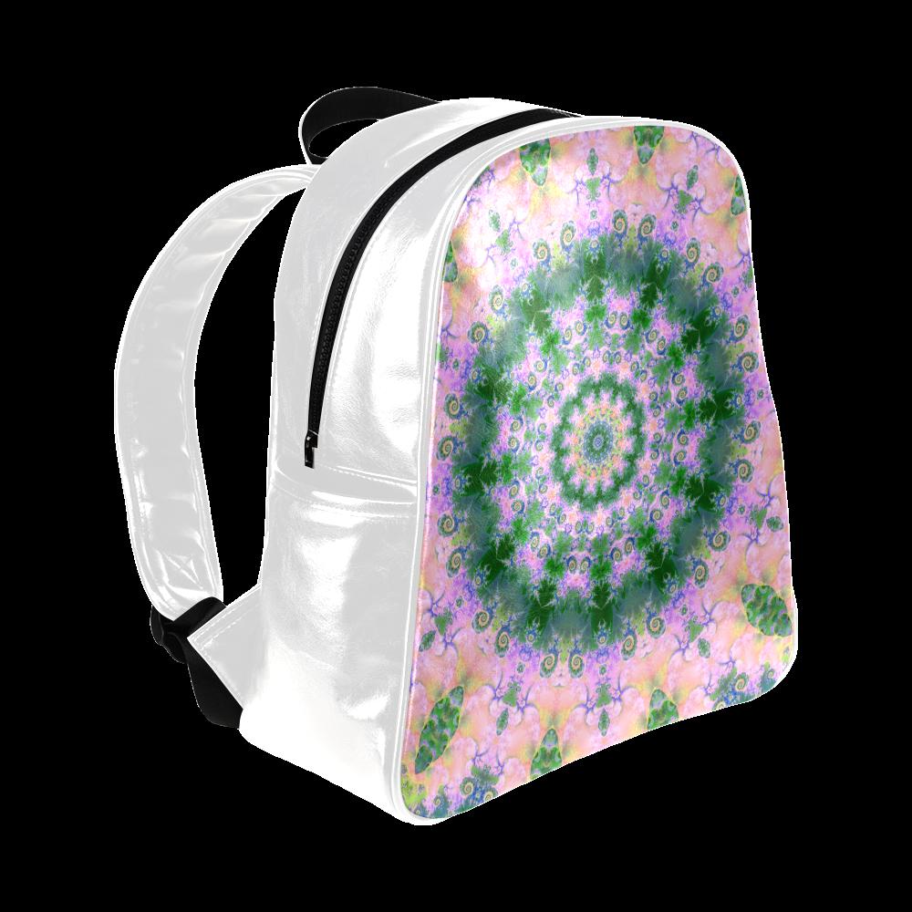 Rose Pink Green Explosion of Flowers Mandala Multi-Pockets Backpack (Model 1636)