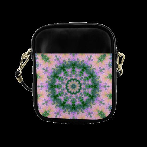 Rose Pink Green Explosion of Flowers Mandala Sling Bag (Model 1627)