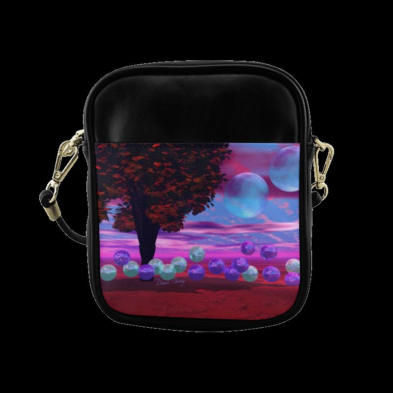 Bubble Garden, Abstract Rose  Azure Wisdom Sling Bag (Model 1627)
