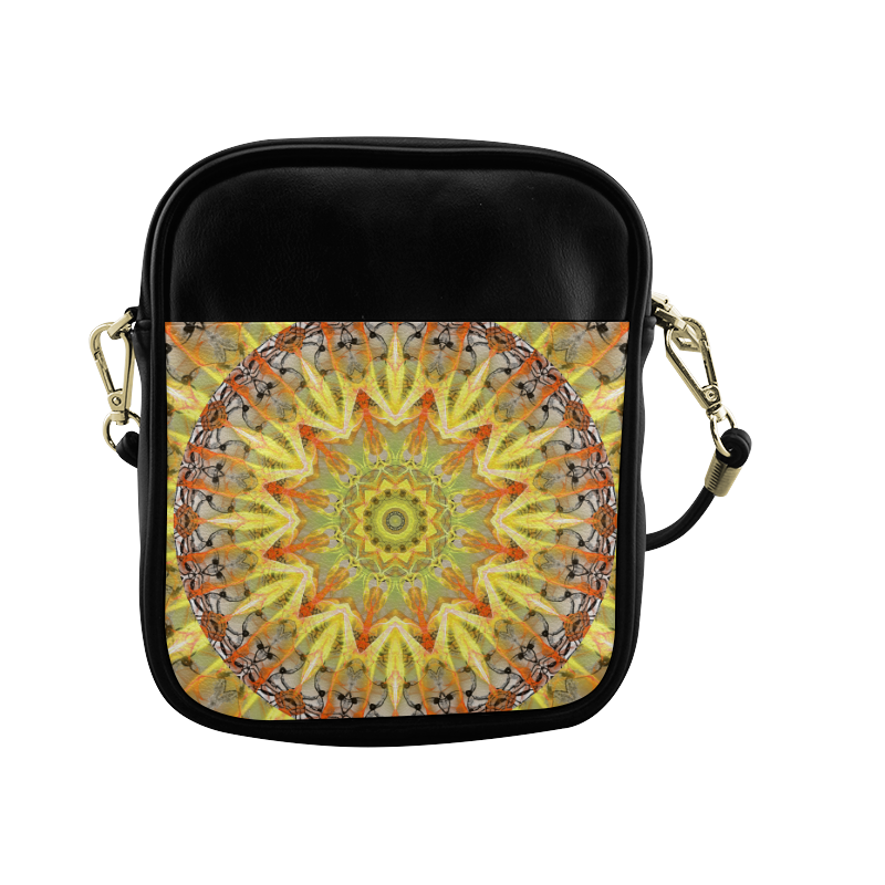 Golden Feathers Orange Flames Abstract Lattice Sling Bag (Model 1627)