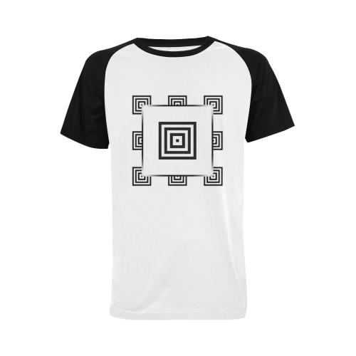 Solid Squares Frame Mosaic Black & White Men's Raglan T-shirt Big Size (USA Size) (Model T11)