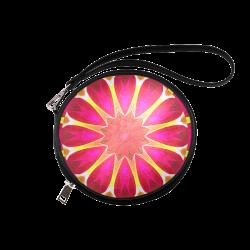 Cherry Daffodil Abstract Modern Pink Flowers Zen Round Makeup Bag (Model 1625)