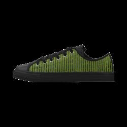 Green Stripe Aquila Microfiber Leather Women's Shoes (Model 028)