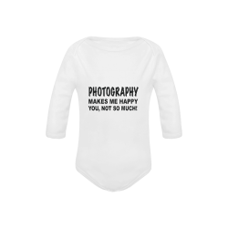 Photography makes me happy Baby Powder Organic Long Sleeve One Piece (Model T27)