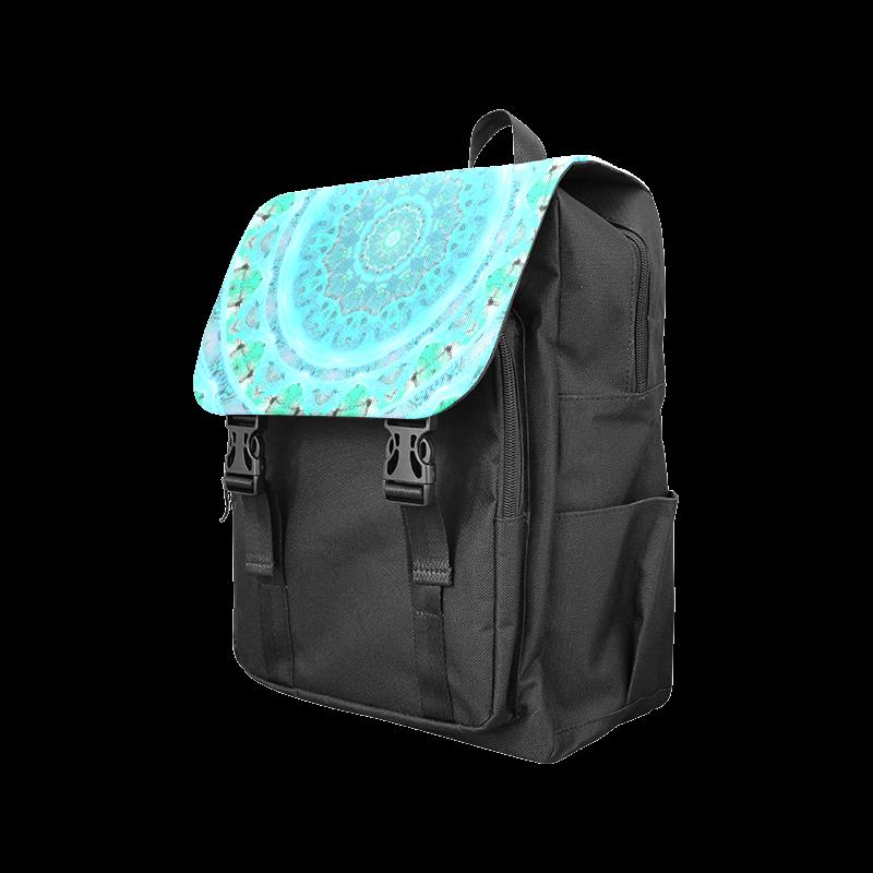 Teal Cyan Ocean Abstract Modern Lace Lattice Casual Shoulders Backpack (Model 1623)
