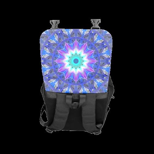 Blue Ice Merry Aqua Violet Foliage Flowers Zen Casual Shoulders Backpack (Model 1623)