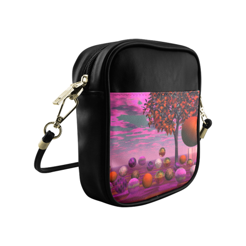Bittersweet Opinion, Abstract Raspberry Maple Tree Sling Bag (Model 1627)