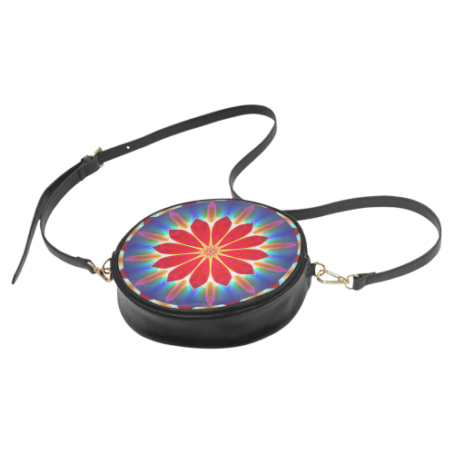 Blue Ice Flowers Red Abstract Modern Petals Zen Round Sling Bag (Model 1647)