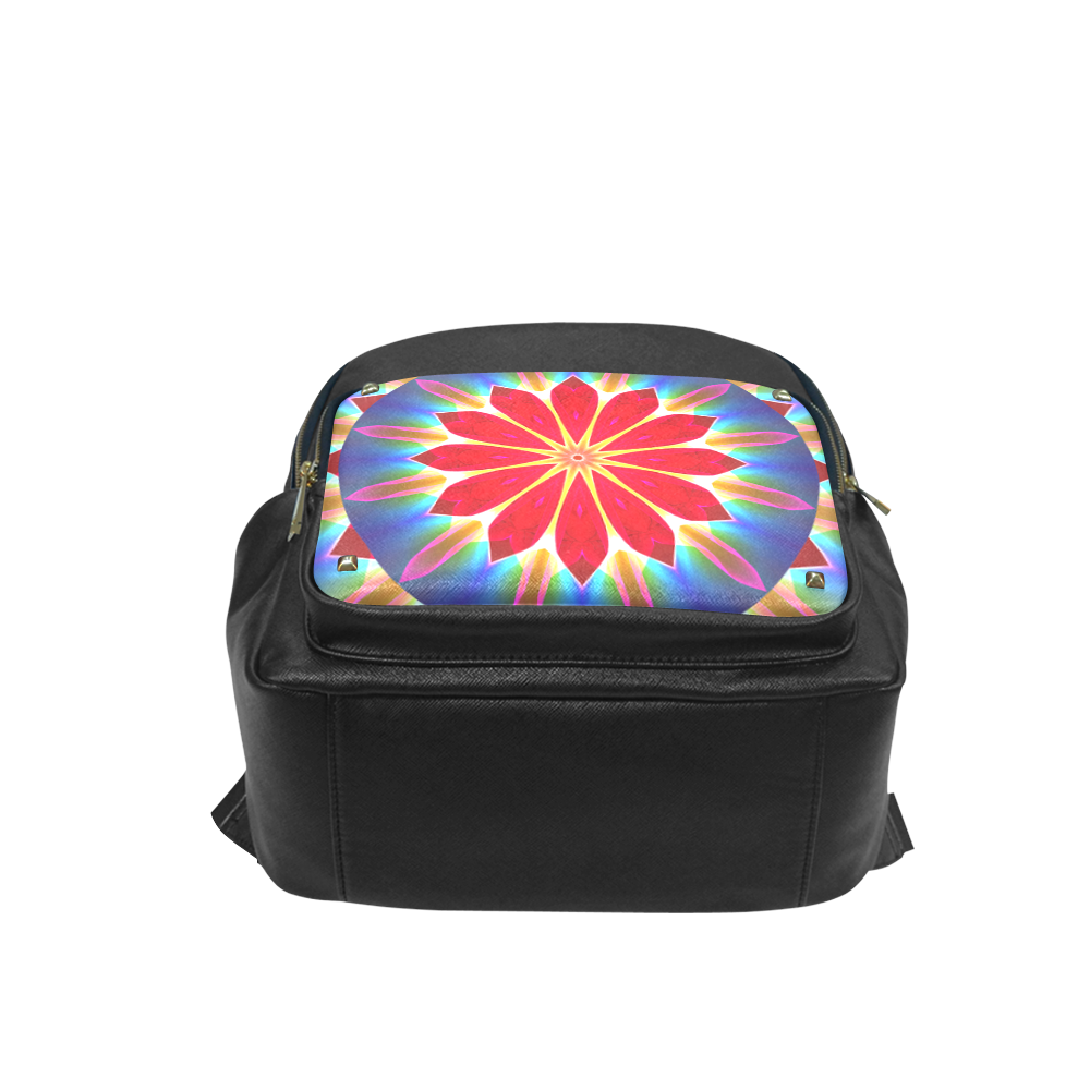 Blue Ice Flowers Red Abstract Modern Petals Zen Campus backpack/Large (Model 1650)