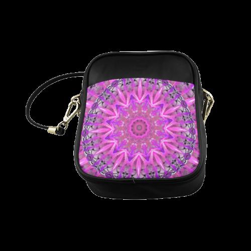 Lavender Lace Abstract Pink Light Love Lattice Sling Bag (Model 1627)