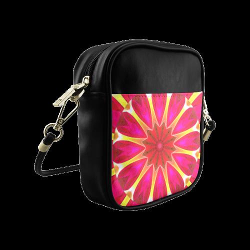 Cherry Daffodil Abstract Modern Pink Flowers Zen Sling Bag (Model 1627)