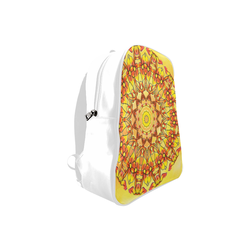 Orange Yellow Sunflower Mandala Red Zendoodle School Backpack/Large (Model 1601)