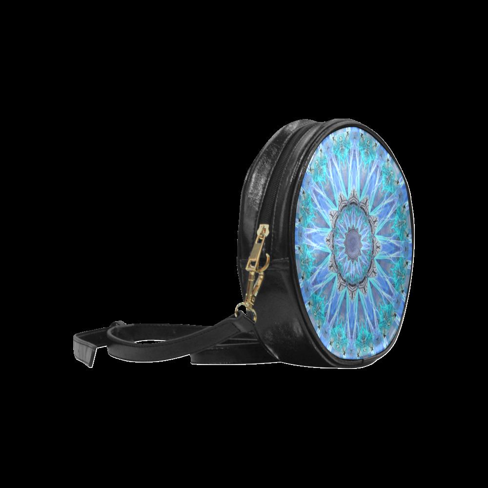 Sapphire Ice Flame, Cyan Blue Crystal Wheel Round Sling Bag (Model 1647)