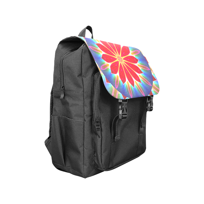 Blue Ice Flowers Red Abstract Modern Petals Zen Casual Shoulders Backpack (Model 1623)