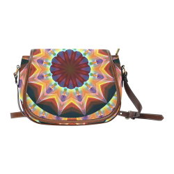 Santa Fe Summer Night, Abstract Warm Romance Saddle Bag/Large (Model 1649)