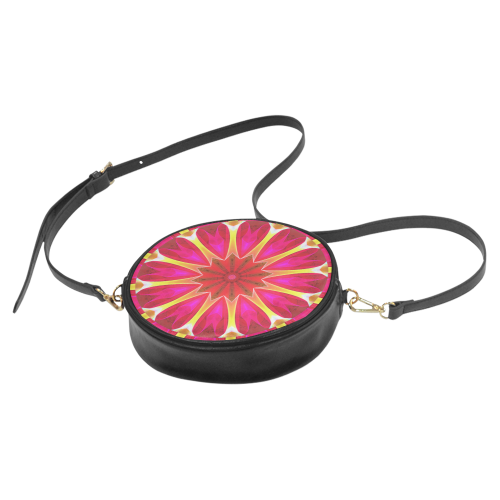 Cherry Daffodil Abstract Modern Pink Flowers Zen Round Sling Bag (Model 1647)