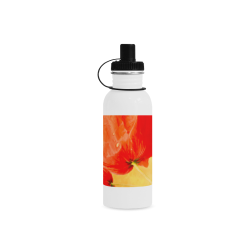 Poppy Summer Red Gold Art Design Manchester Sports Bottle(22OZ)